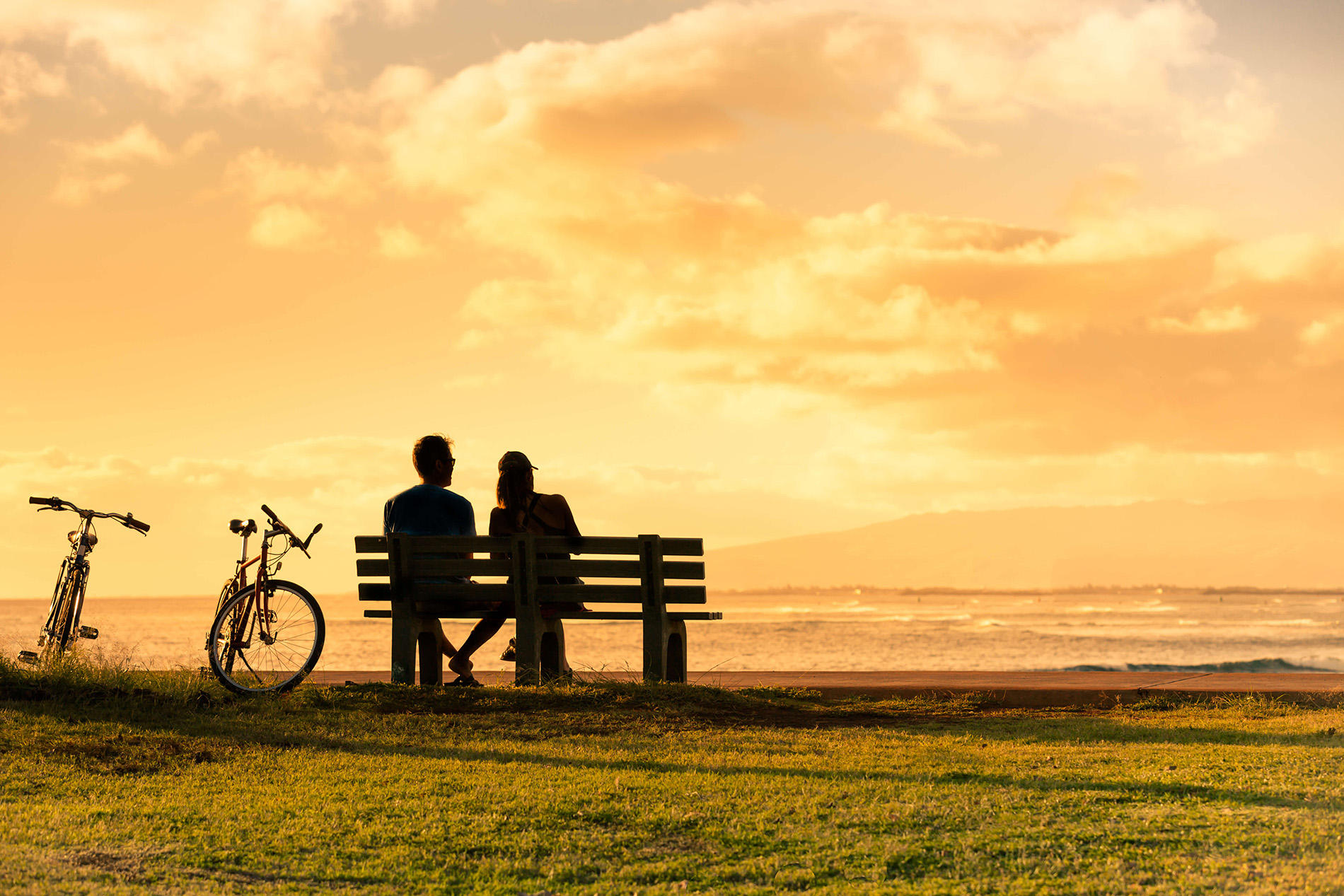 happy couple on a bench watching sunset new